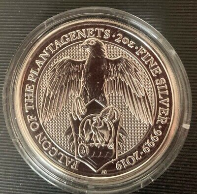 2019 Queen's Beasts 2oz Silver Bullion Coin Falcon Of The Plantagenets