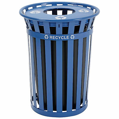 36 Gallon Outdoor Steel Recycling Receptacle with Flat Lid, Blue