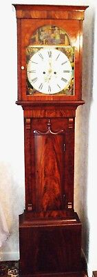 Beautiful Scottish 19th Century Flame Mahogany 8 Day Longcase Clock
