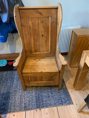 Restored Antique Pine Monks Bench/Chair