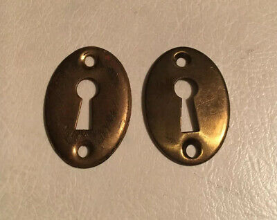 2 Vintage SOLID Brass Oval Key Hole Escutcheon Covers ~Reclaimed Hardware