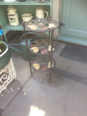 Used Garden CAST IRON VINTAGE POT PLANT STAND 3 TIERS SEE PICS