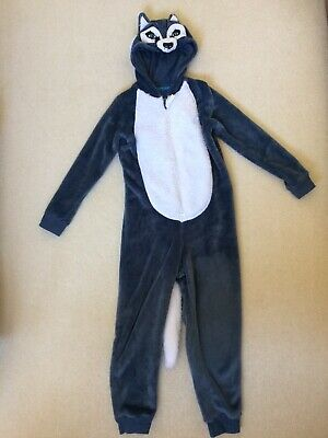 Hooded Husky Dog Fleece All-in-One, M&S, Age 7-8
