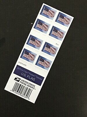 USPS New Us Flag Forever Stamps Book Of 20 $11.00 Face Value P1111 Print