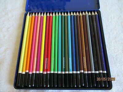 24 Art Studio Water Colour Pencils In Tin  Nwot  From Whsmith