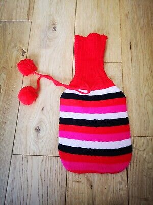 BNWOT Small hot water bottle cover w/ Stripes and pom poms