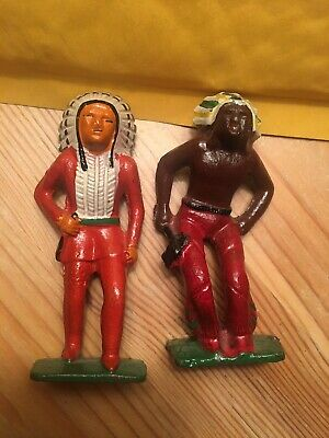 TWO Antique Vintage Solid Cast Iron Native American Indians 1930's Toys