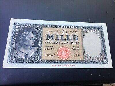 1959 1000 lire note xf+ Italy currency