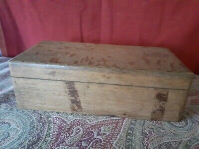 Vintage wooden box with hinged lid