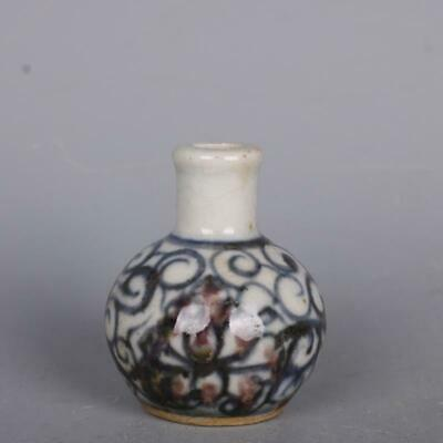 50MM Chinese Blue and White Porcelain Red Glaze Lotus Flower Snuff Bottles