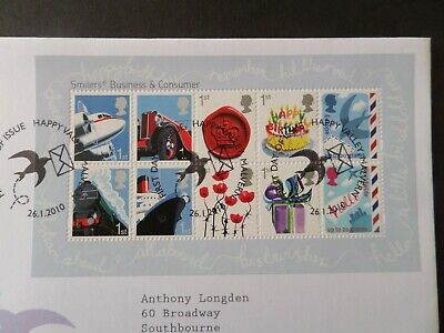 GB FDC Miniature Sheet Business Consumers Smilers 2010