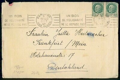 Mayfairstamps France 1942 Paris to Frankfurt Cover wwe_99349