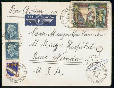 Mayfairstamps France 1969 Peschadories to St Marys Hospital Nevada Cover wwe_999