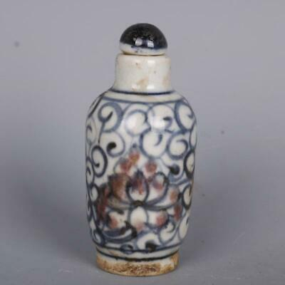 China Blue and White Porcelain Red Glaze Twine Lotus Flower Branch Snuff Bottles