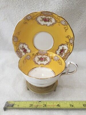 Royal Albert Crown China England Yellow Roses Cup Saucer Gold