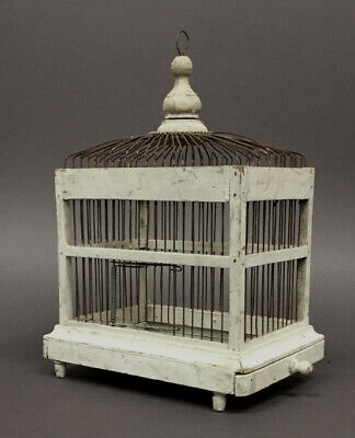 Antique Wooden Bird cage original white paint circa 1920-30's
