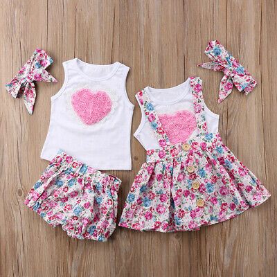 Cute Kids Baby Girl Sister Matching Outfit Clothes Tops T-shirt Pants Skirts Set