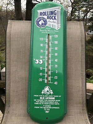 Vintage Rolling Rock Metal Thermometer