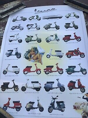 Vespa Scooter Large Plastic Poster  In Original Shipping Tube.  40 X 26 1/2 Inch