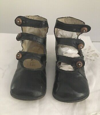 Antique Pair High Black Leather Childs Shoes 3 Straps Buttons Montgomery Ward