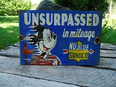Old Vintage Sunoco Nu-Blue Porcelain Gas Station Pump Sign Mickey Mouse
