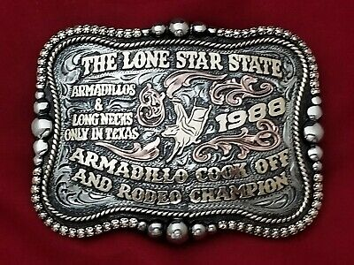 1988 Vintage Rodeo Buckle~Texas Lone Star Armadillo Bull Riding Champion 405