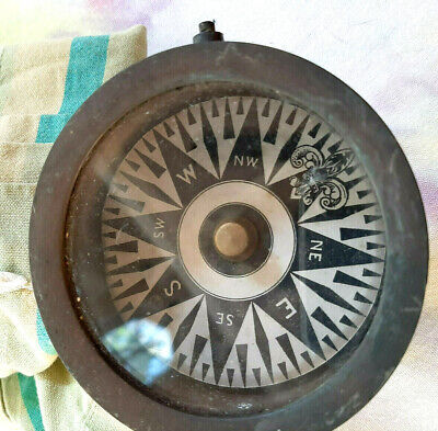 Antique   Ship Compass Gimbal   1900's Antique brass vtg WORKS