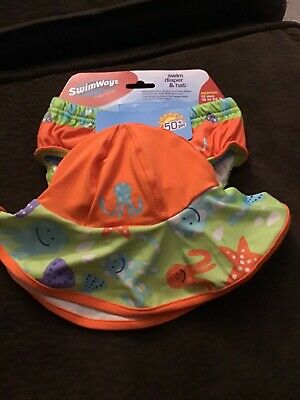 Swimways Baby Swim Diaper And Hat Medium 12 Months 18/22 Lbs NWT