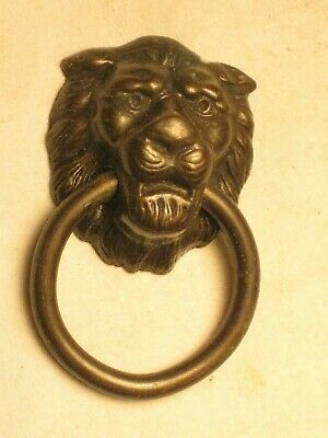 "vintage single small ornate lion head ring pull handle metal hardware   "" 4"""