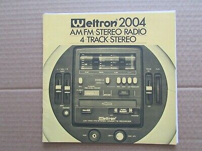 Weltron 2004 Am/Fm Stero-Radio 4 Track Stereo Operating Instruction Manual