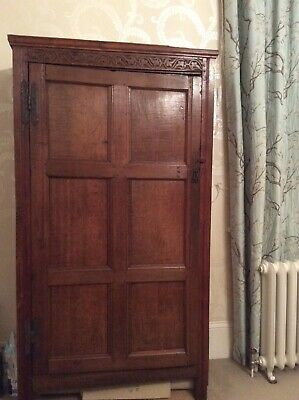 17th century English Oak 6 Panel Cupboard / Wardrobe with Hand Carved Frieze