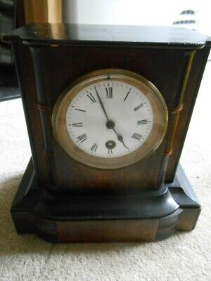 Mantle Clock French Movement. Wooden Cased French Movement Clock. Key. Running.