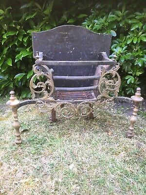 Antique Fireplace Old Cast Iron Firegrate With Lovely Brass Decoration Very Old