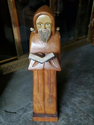 Vintage Hand Carved WOOD Praying MONK Priest Figure tall Nordic?