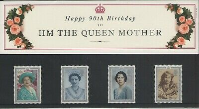 QUEEN MOTHER 90th BIRTHDAY PRESENTATION PACK OF ROYAL MAIL STAMPS FREE P&P