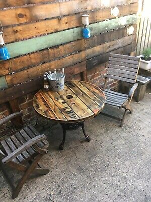 Upcycled Cable Drum Reel Cast Iron Britannia Base Garden Pub Table Industrial
