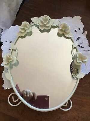Vintage shabby chic free standing DRESSING TABLE MIRROR Cream Cast iron
