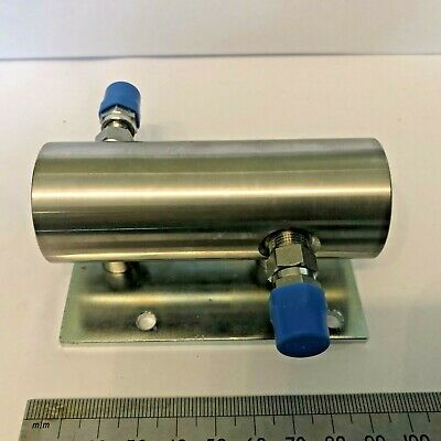 """UHV sample chamber 1/8"""" side tubes *2  & 1/2"""" end inlet Stainless Steel"""