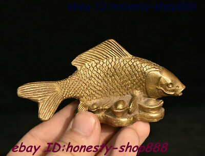 Collect Chinese Copper Bronze Feng shui Animal Fish Yuan Bao Coin Wealth Staute