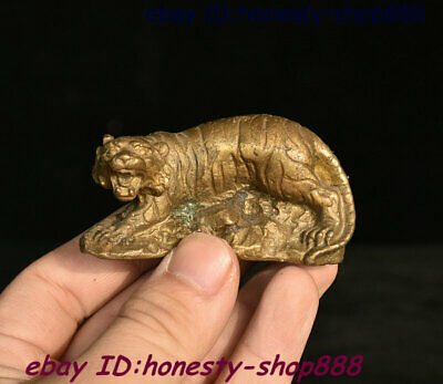 Collect Folk Chinese Copper Bronze Feng shui 12 Zodiac Year Animal Tiger Statue