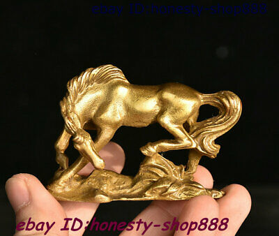 Collect China Dynasty Copper Bronze Fengshui 12 Zodiac Year Animal Horse Statue