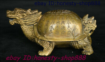 China Bronze Animal Ancient Writing Dragon Tortoise Loong Turtle Statue 001