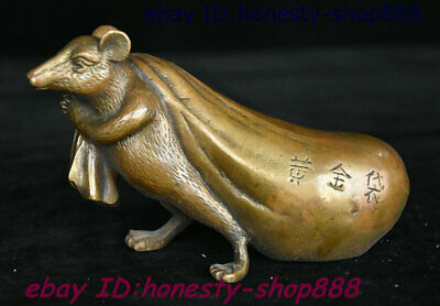 Collect China Dynasty Bronze Fengshui 12 Zodiac Year Animal Mouse Bag Statue 001