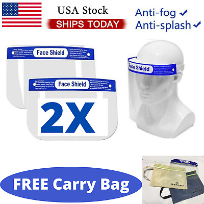 2 PCS Safety Full Face Shield Reusable Protection Cover Face Mask Adult, kids