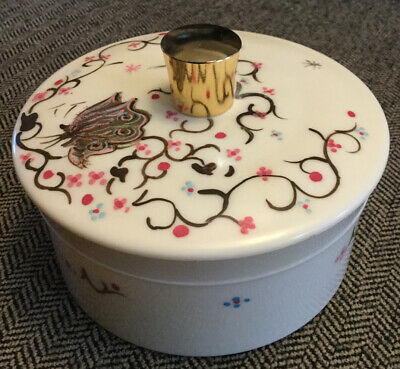 Vintage Women's Body Powder Container With Butterfly 6 Inches Diameter
