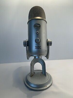 Used THX Certified Blue Yeti USB Condenser Wired Silver Microphone No cord
