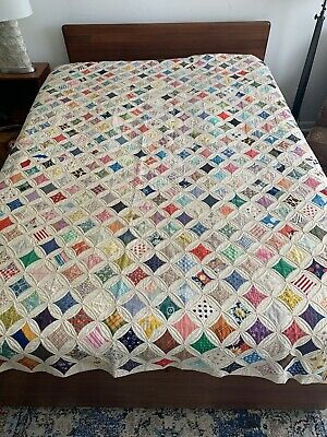 "Vintage Cathedral Window Quilt ~ 98"" X 90"""