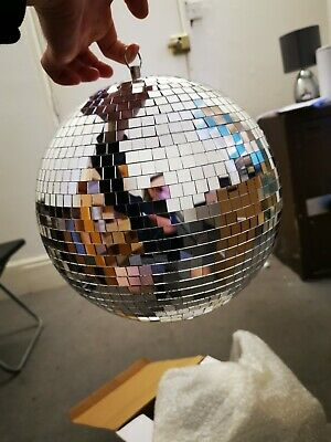 Fx Lab Silver Mirror Dance Disco Party DJ Ball 10 inch / 250mm & Moving Motor