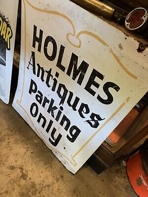 Vtg Holmes Antiques Parking Plaid Stamps Metal Painted Over Advertising Sign USA