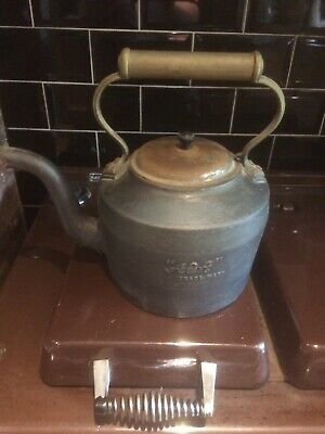 AGA /HOLCROFT Large Vintage Cast Iron Brass/copper Kettle Pot